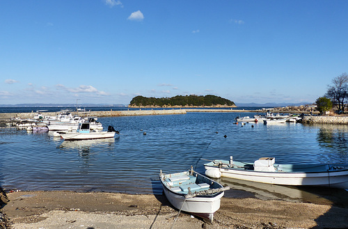 The small fishing harbour at Kitaura on the north coast of Shodoshima.