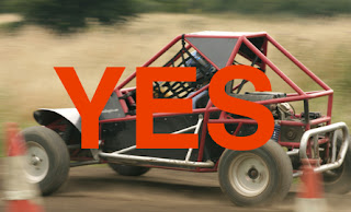 Picture of a rage buggy going 58mph with the word Yes