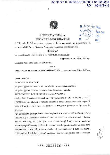 Il tribunale di Padova annulla un pignoramento notificato da Equitalia