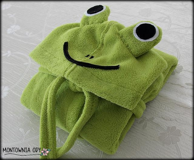 szlafroczek dla dziecka z kapturem żabka