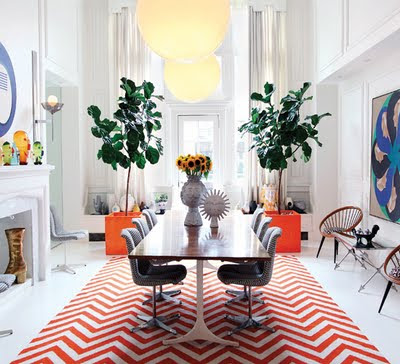 burnt orange cream chevron rug
