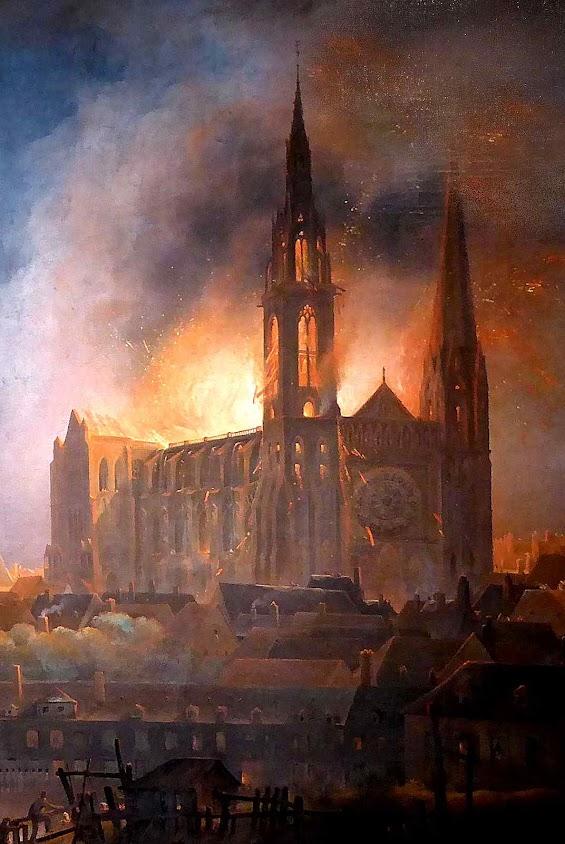 Incêndio da catedral de Chartres em 4 de junho de 1836.  François Alexandre Pernot (1793-1865). Musée des Beaux-Arts de Chartres.