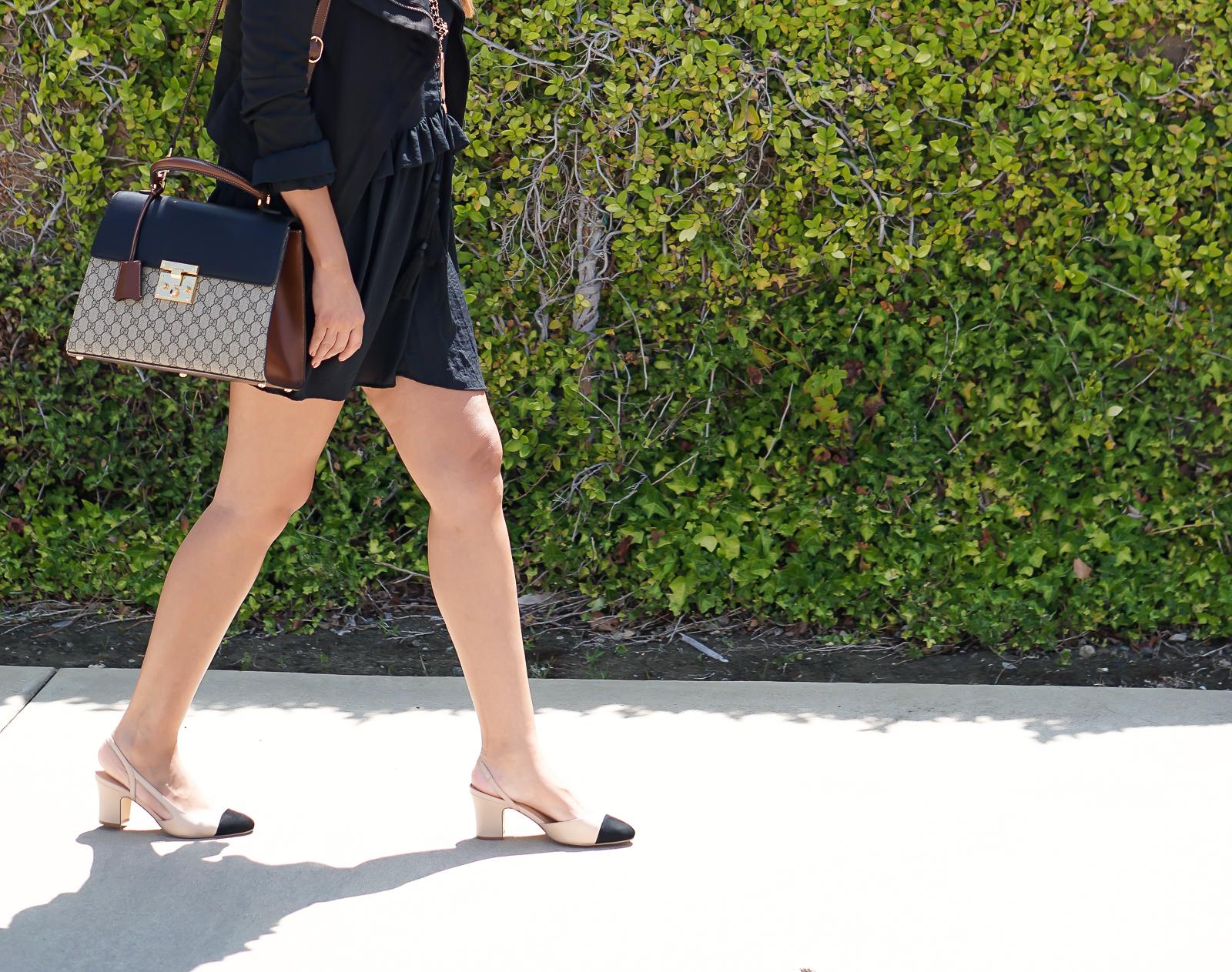 Chanel Slingback Dupes, Chanel Dupe, Splurge vs Save, H&M Dress, Ivanka Trump Heels, Guess Necklace, Gucci Bag,