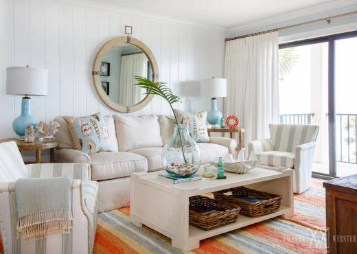 Pastel Blue Table Lamps in Living Room