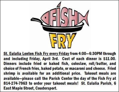 2-14 Fish Fry, St. Eulalia Parish Center, Coudersport