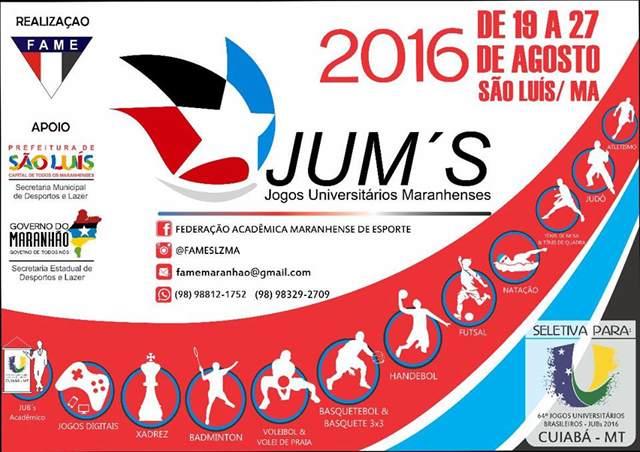 A cerimônia oficial de abertura dos JUMs 2016 vai acontecer nessa sexta-feira (19), às 19h, no Ginásio Castelinho.