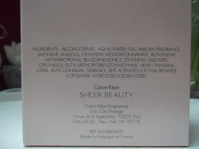 Calvin Klein Sheer Beauty ingredients