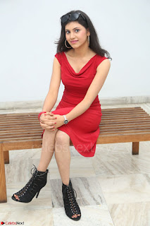 Mounika Telugu Actress in Red Sleeveless Dress Black Boots Spicy Pics 041.JPG