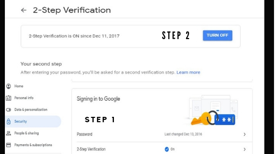 2 step verification turn off