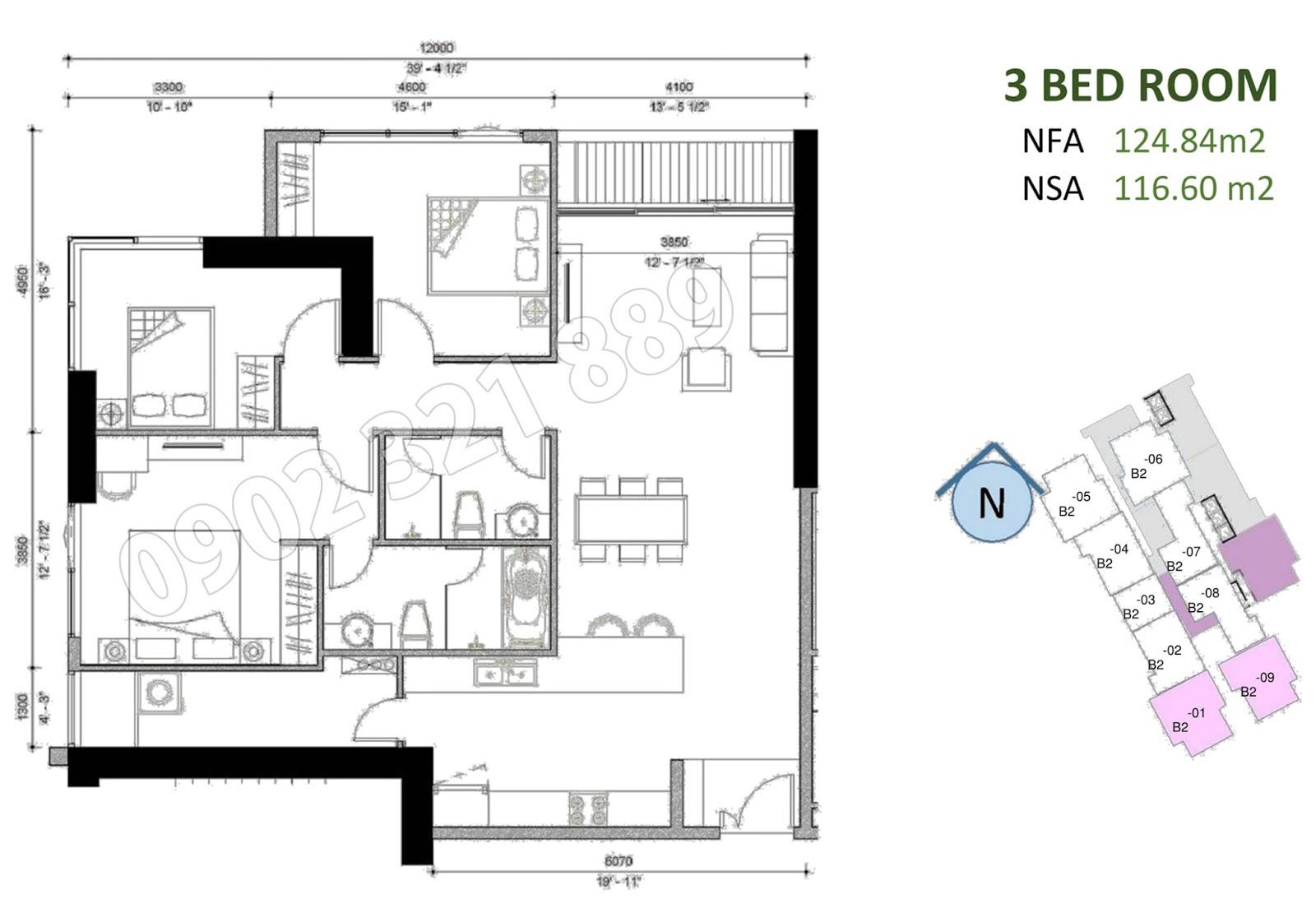mặt bằng căn hộ sunwah pearl 3 phòng ngủ B2-01 và B2-09