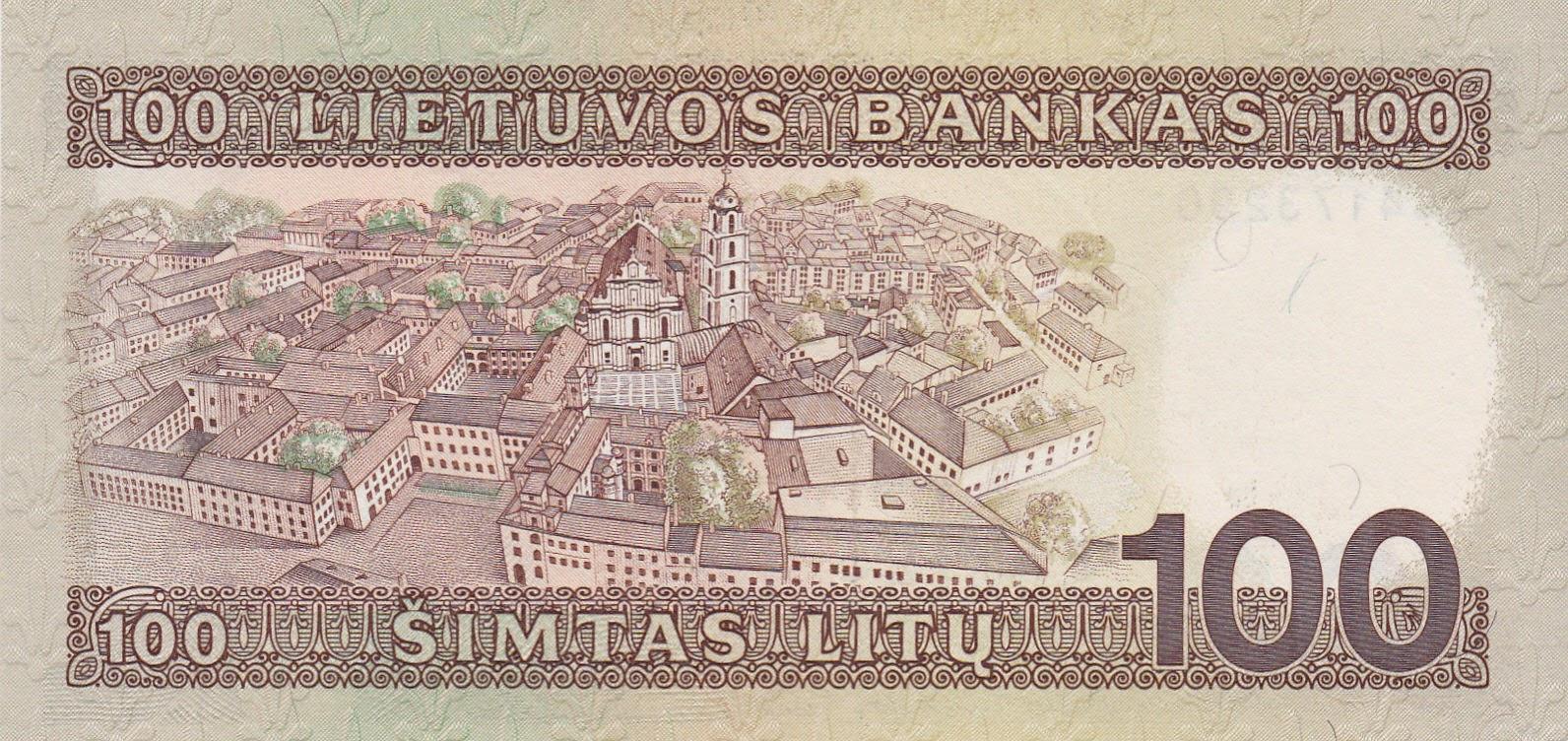 Lithuania 100 Litu banknote 1991 Vytis