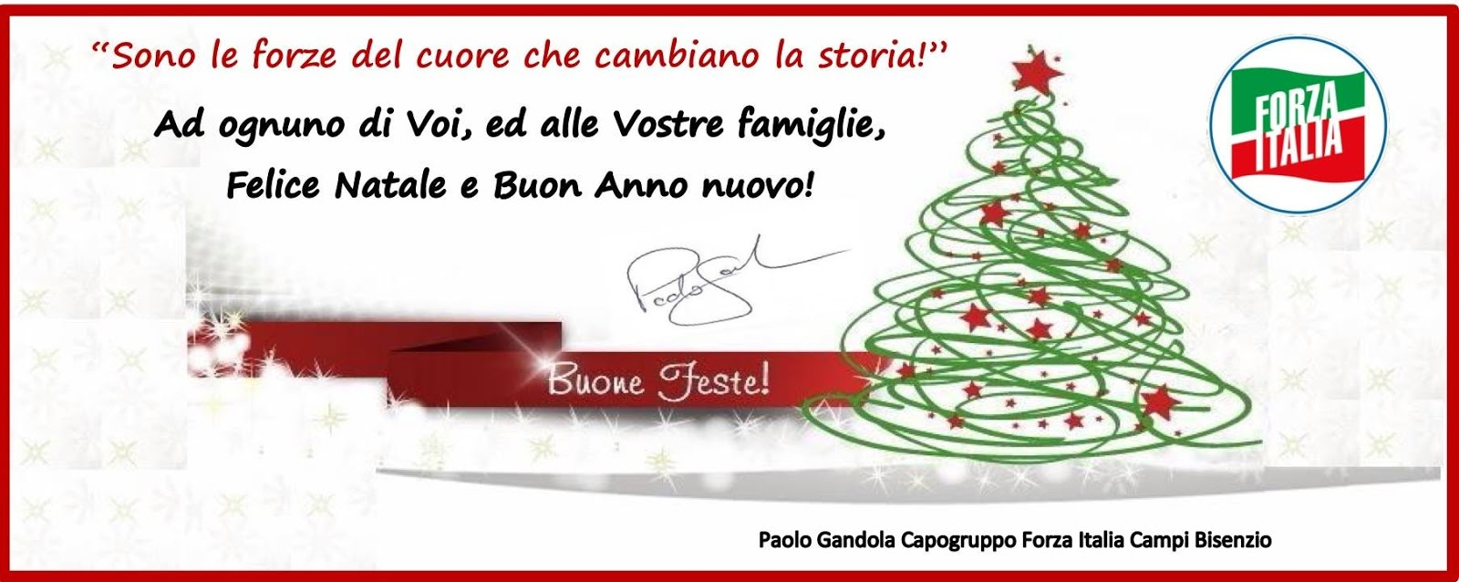 Buon Natale Italia.Carissimi Auguri Di Buon Natale Paolo Gandola Forza Italia
