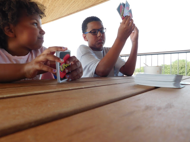 Playing Uno at Cleveland Metroparks Beach House