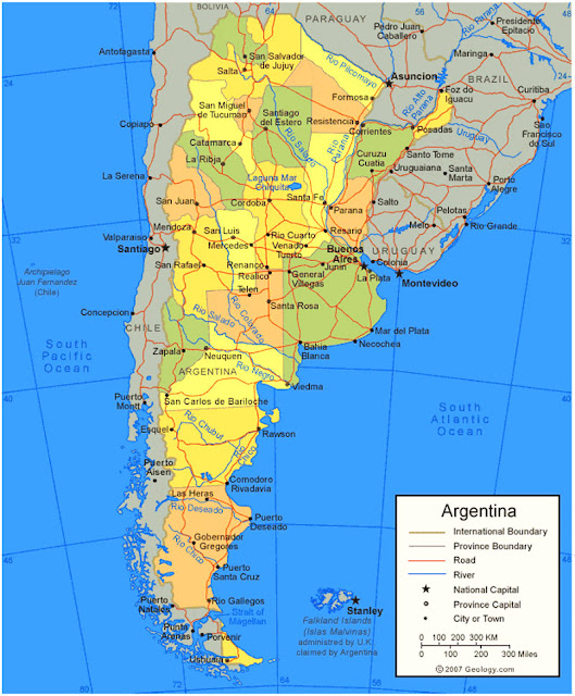 Gambar Peta Negara Argentina