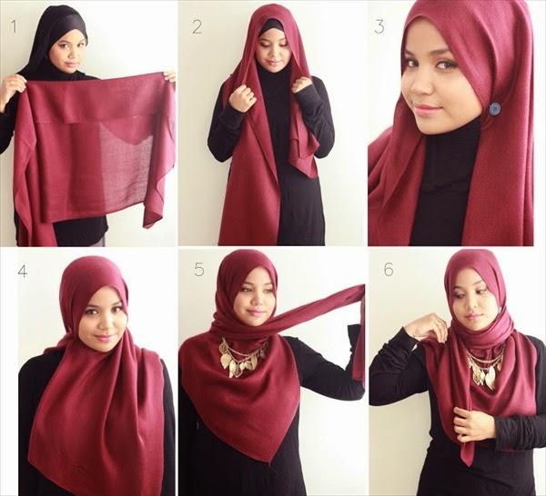 Cara Mudah Memakai Jilbab segi empat terbaru untuk sehari-hari