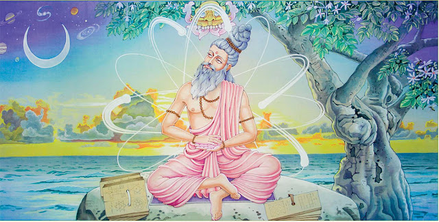 Bhishma advises Yudhistra with Pandavas and Krishna on his death bed of arrows_Shanti Parva-129