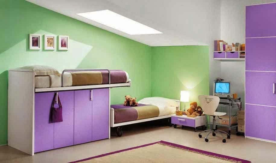 Gambar desain kamar anak paling unik warna kombinasi hijau