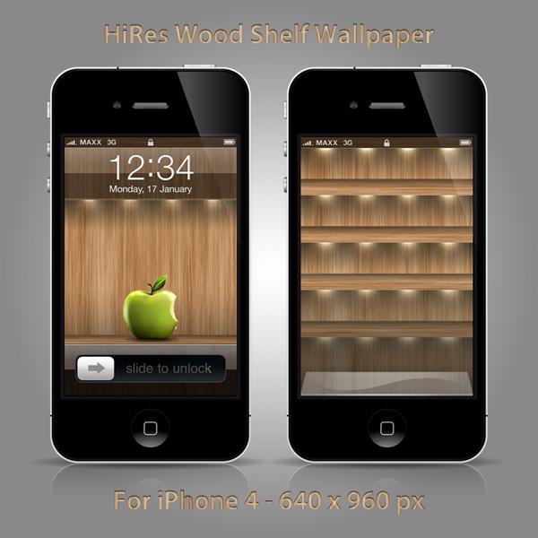 Fun Theme: IPhone 4 Wood Shelf Wallpaper