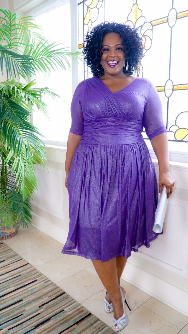 kiyonna purple dress, plus size cocktail dress, kiyonna cocktail dress