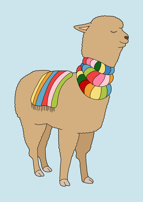 Whimsical rainbow llama illustrated by Argentinian artist, Sasa