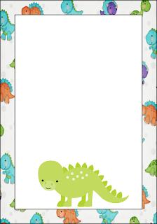 Marcos, Invitaciones, Tarjetas o Etiquetas de Dinosaurios Bebés para Imprimir Gratis.