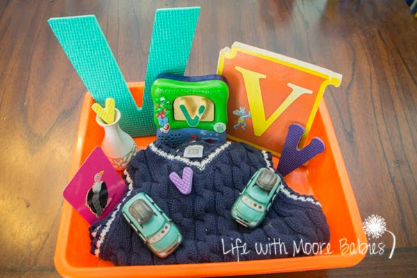 How to Make a Letter V Sensory Bin