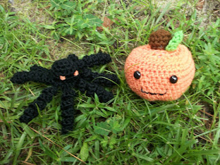 Plush Pumpkin and Toy Spider