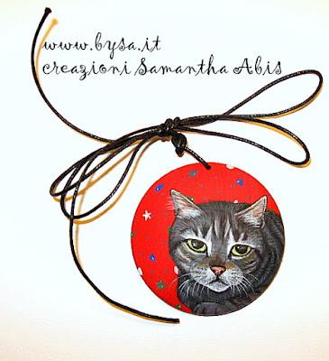 prezzi  ritratti dipinti di  gatto su ciondolo