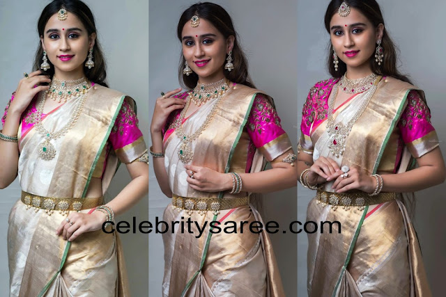 Simrath Juneja in Off White Silk Saree