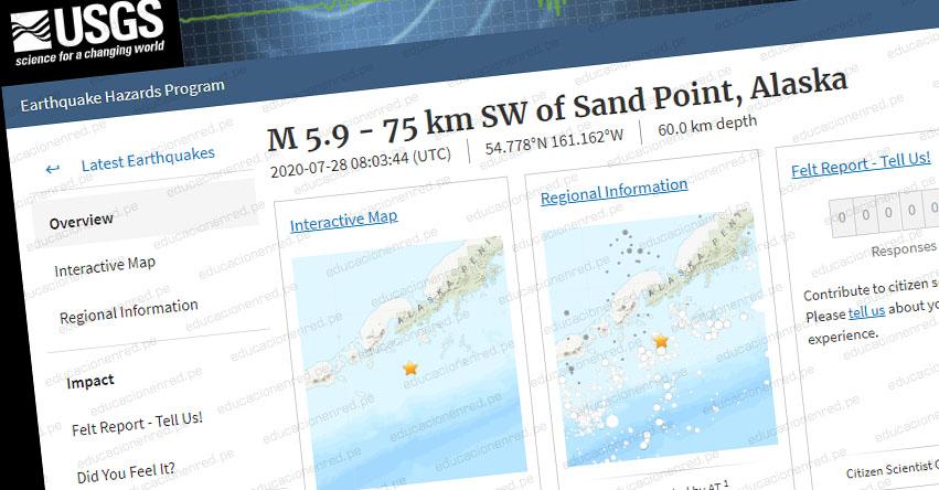 Terremoto en Alaska de Magnitud 5.9 y Alerta de Tsunami (Hoy Martes 28 Julio 2020) Sismo - Temblor - Epicentro - Sand Point - Estados Unidos - EE.UU. - USGS