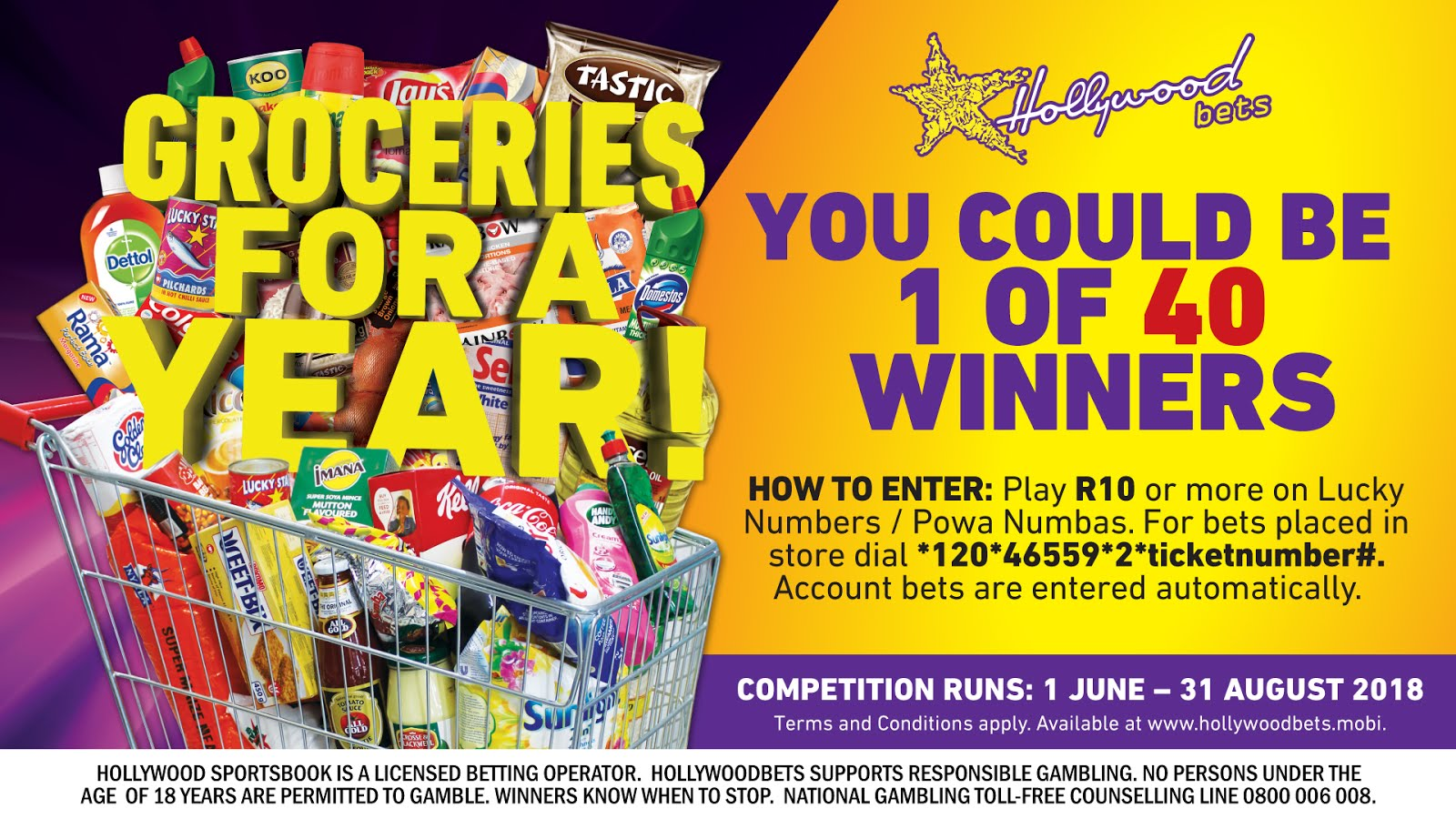 Win groceries for a year with Hollywoodbets!
