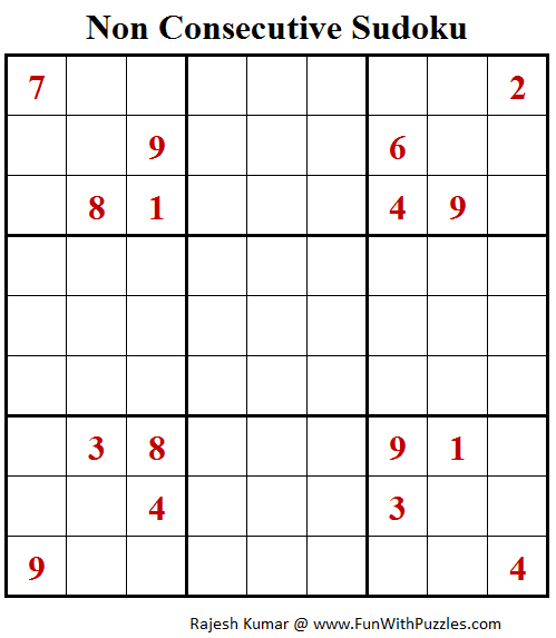 Non Consecutive Sudoku Puzzle (Fun With Sudoku #278)