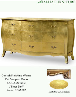 Contoh Furniture finising cat duco emas metallic