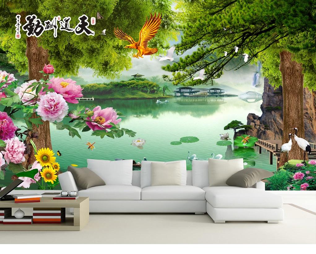 Tranh dán tường 3d phong cảnh hoa mẫu đơn đại bàng tung cánh