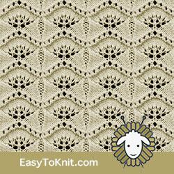 Eyelet Lace 74: Ginkgo Leaf | Easy to knit #knittingetitches #eyeletlace