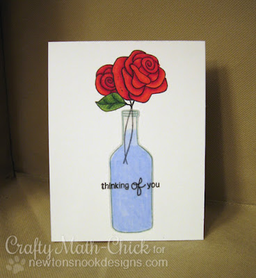 Rose in a Bottle Thinking of You card by Crafty Math Chick | Message in a Bottle and Love Grows by Newton's Nook Designs