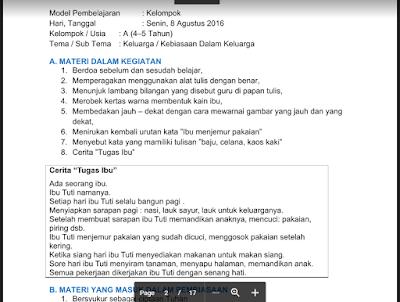 RKH PAUD Semester 1 Tema Keluarga / Kebiasaan Dalam Keluarga Kurikulum 2013