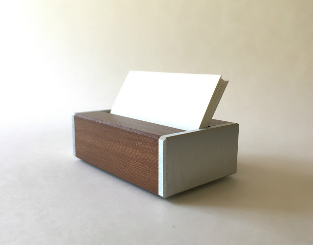 Desk business card holder modern dark recycled wood and bright metal reheart Gallery