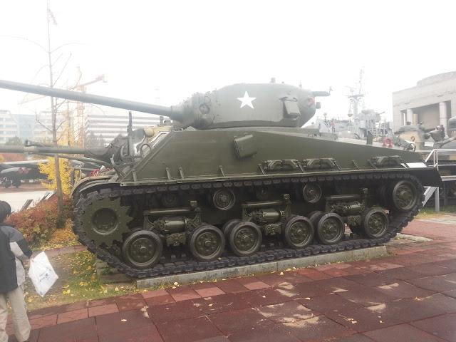 Tanks from the war memorial