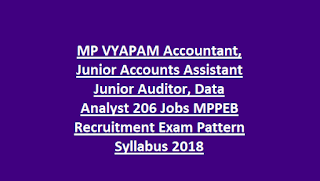 MP VYAPAM Accountant, Junior Accounts Assistant Junior Auditor, Data Analyst 206 Govt Jobs MPPEB Recruitment Exam Pattern Syllabus 2018