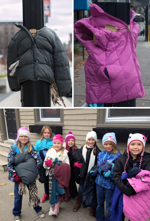 #12 These Kids In Canada Tied Coats To Street Poles To Help Homeless Prepare For Winter  - 12 Kids Who'll Restore Your Faith In Humanity