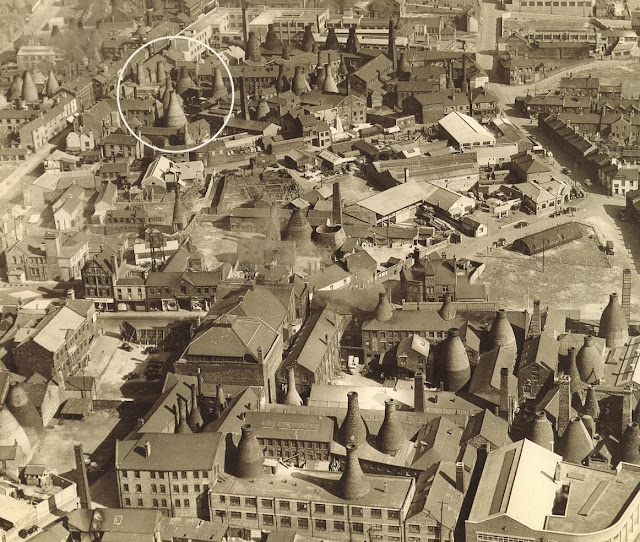 Longton skyline with Gladstone Pottery circled photo: unknown source  date: 1953