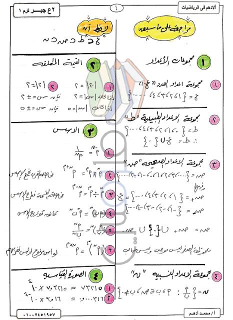 ملزمة رياضيات للثاني الاعدادي ترم اول