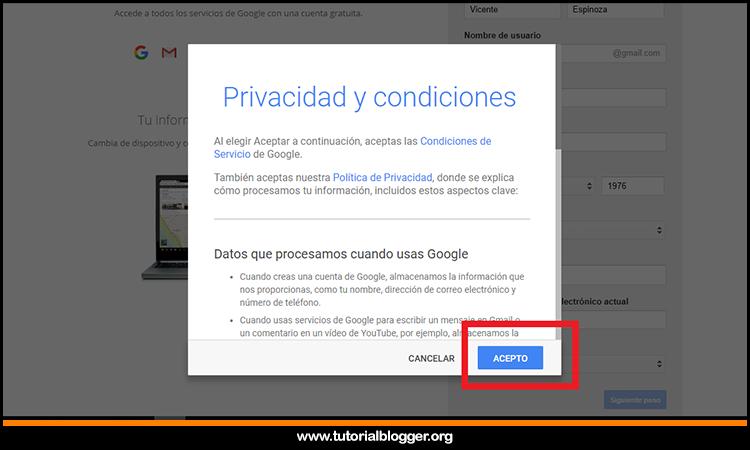condiciones de gmail