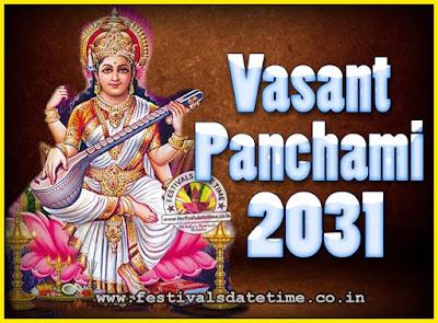2031 Vasant Panchami Puja Date & Time, 2031 Vasant Panchami Calendar