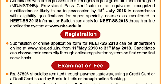 NEET Super Speciality 2018 Notification