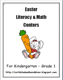 Kindergarten printable Easter literacy and math activities