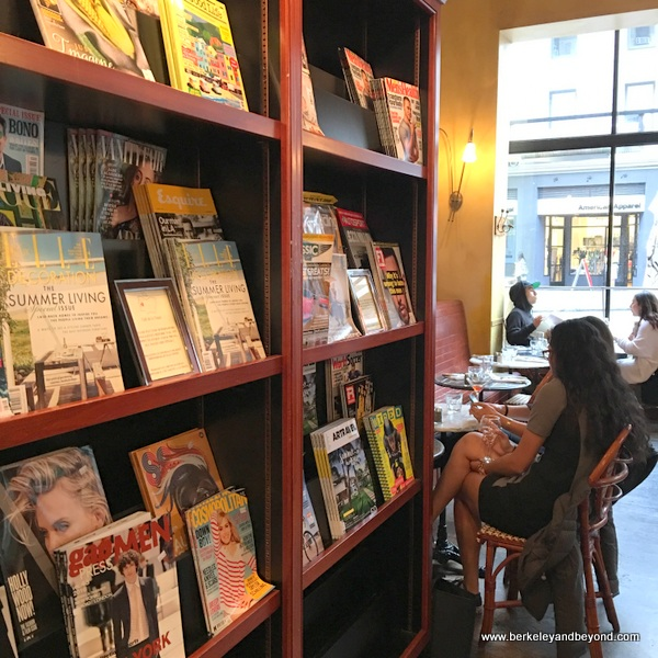 magazine stand at Cafe de la Presse in San Francisco, California