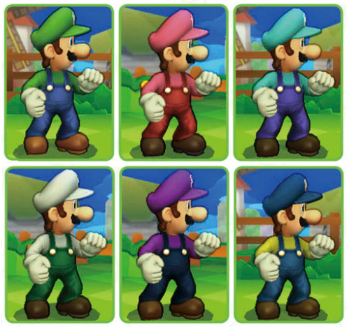 Luigi Smash Bros. alternate outfits