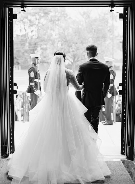 Jin and Christopher leaving the church after their wedding in Island Park NY